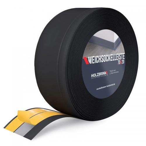 Listwa miękka przypodłogowa PVC czarna 70x20mm Holzbrink