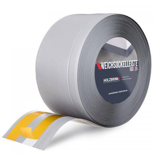 Samoprzylepna miękka listwa przypodłogowa PVC szara 100x25 mm
