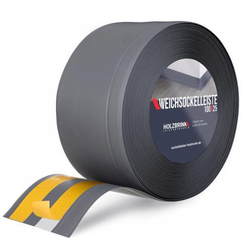 Samoprzylepna miękka listwa przypodłogowa PVC grafitowa 100x25 mm